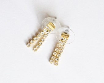 Vintage Rhinestone Earrings Pierced Dangle Wedding Jewelry Jewellery Flower Girl Junior Attendant Gift for Her Birthday Christmas