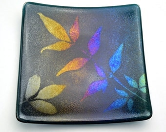 Iridescent Fused Glass Plate Powder Printed Leaves Dark Transparent Turquoise Blue