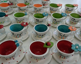 10 Child size charm  Personalized tea cup party favors