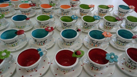 10 child size charm personalized tea cup by speeglecreations for Teacup party favors