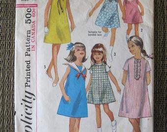 1960's Vintage Simplicity Pattern 5991 Girls Size 12 Jumper Or Dress