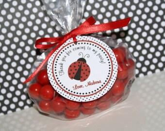 Set of 12 - Ladybug Favor Tags, Ladybug Birthday Favor Tags, Ladybug Party Favor Tags, Ladybug Party Supplies, Red, Black & White - (LADY-1)