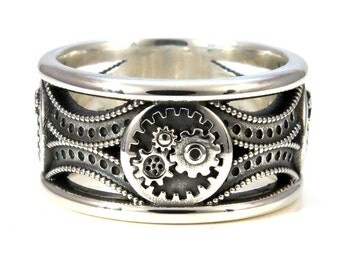 Silver Gear Ring - Steampunk Art Deco Mens Ring