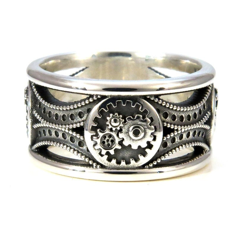 silver gear ring steunk deco mens ring