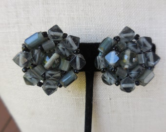 Vintage Grey/Gray Glass Beaded Cluster Japan Non Pierced Clip on Earrings Silver Tone 1950s to 1960s