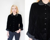Vintage 1950s Jacket - Black Velvet Faux Fur Fitted Rhinestone 50s - Medium / Large
