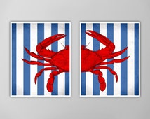 Red Crab Blue Stripes Print Set, Nautical Art Prints, Nautical Art Prints, Nautical Art Blue Crab, Red Crab, Customizable Color Oprtions