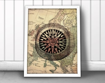 Compass Art Print, Nautical Map Print, Nautical Compass Print, Compass Rose Print, Compass Map Print, Nautical Map Art Print, Compass Poster