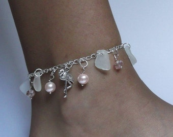 Flamingo anklet. Sea glass anklet - Pink anklet - Beach glass jewelry Sterling anklet.
