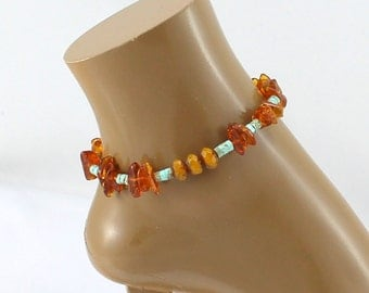 Ankle Bracelet.  Baltic Amber and Turquoise Heishe with Czech Glass Crystal Focal Ankle Bracelet.  Sophisticated.  Unusual.