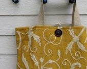 Crewel Embroidered Large Linen Bag // On the Go Bag //  Stylish tote bag// Linen and Wool