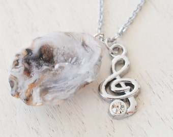 silver treble clef necklace, music note necklace, teacher git, stocking stuffer, music jewelry, G clef, musician friend, geode agate jewelry