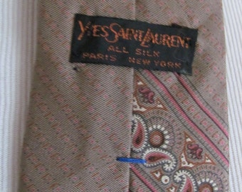 YSL Yves Saint Laurent - Mens Brown Paisley Designer Silk Neck Tie