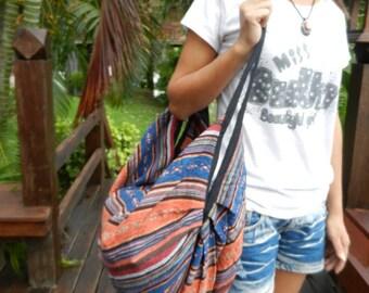 Hand Woven Cotton Shoulder Bag Backpack Crossbody Messenger Purse Travel School Bags Hmong Black Ikat IK8