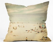 "Decorative Throw Pillow. Dorm Decor. Beach Home Decor. Beach Art. Santa Cruz. ""Vintage Beach"". Blue and Beige. Summer decor. ocean. fun"