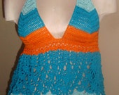 2015 Handmade Crochet High-Low Top with Matching Bikini Bottom---Mint, Teal, and Orange---AVAILABLE NOW---S-L