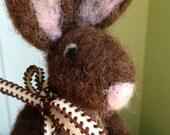 Chocolate Brown Wool Easter Bunny Rabbit Needle Felted