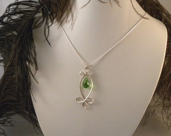 Celtic Green Crystal Pendant and Earrings Wrapped with Sterling Silver Wire