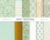 Digital Paper mint, mint digital papers, wedding papers, mint and gold, scrapbook supplies - 683
