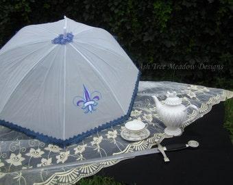 Artistic Parsol, Fleur de Lis with Fringe, Rain or Shine, Parasol Name: Icy Fleur de Lis, parasol, parasols, umbrella, rainproof, shade