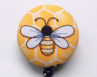 Honey Bee Badge Reel - ID Badge Reel - Badge Holder - ID Badge Holder - Retractable Badge - ID Badge Reel - Nurse Gift - Fabric Badge Reel