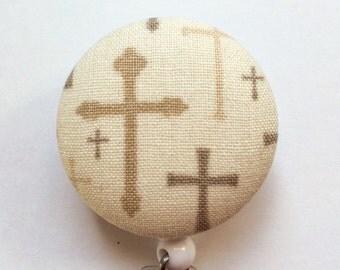 Cross Badge Reel - Tan Badge Holder - Retractable ID Badge - ID Name Badge - Religious Badge Reel - Nurse Gift - Fabric Badge Reel