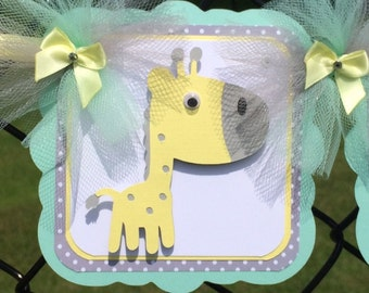 Giraffe baby shower banner, giraffe decorations, gender neutral banner, giraffe nursery decor, mint and yellow, gray chevron decor