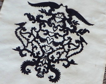 Silhouette Hand Cut Pennsylvania Dutch Design Pennsylvania German Folk Art Birds with Hearts Pattern
