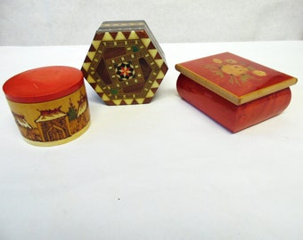 Wood Jewelry Box Trinket Laquered Inlaid Handcarved Set Of Three