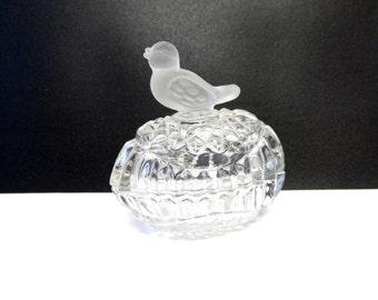 Clear Glass Bird Jewelry Box Trinket Box
