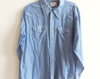 1970s Vintage Wrangler Western Shirt Pearl Snap Buttons Blue Checks 17 1/2 - 35