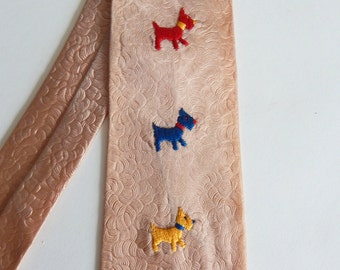 Vintage 1950s Novelty Necktie with Embroidered Scottie Dogs