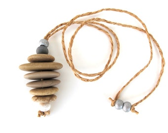 Stacked Stone Necklace Rock Cairn Jewelry Mediterranean Pebble Pendant Necklace Adjustable Hemp Cord Zen Jewelry SOUTH