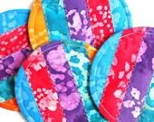 Fabric Coaster Set, Bright Batik Mug Rugs, Quilted Coasters