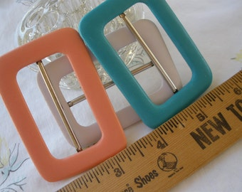 """Buckle variety Scarf Slide 2"""" opening 2"""" x 2 13/16"""" metal 3 colors Peach Turquoise white faux leather vinyl covered crafts ribbon slide"""