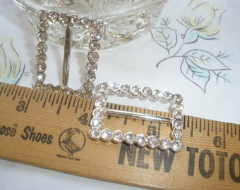 """Rhinestone ribbon slide buckle silver color metal 1"""" opening faceted beads embellish fancy 1 5/16"""" by 1"""" diamante slider"""