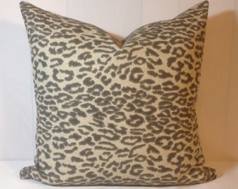 Cheetah Steel Pillow Cover in Lacefield Fabric