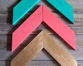 WOOD ARROWS - Chevron Wall Arrows - Set of 3 - Mix and Match Coral Arrows, Mint Arrows, Gold Arrows, Pink and Gold, Navy, Lilac, Gray, White