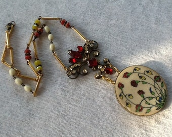 Vintage Assemblage Necklace Rhinestone Shabby Chic Rosary Beads Repurposed Art Deco