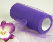 """Purple Tulle / 25 Yards / 6"""" Spool Roll Nylon / Bridal / Unique Gift Wrap / Wedding Decoration / Tutu Costume Supplies / Pew Bow Material"""