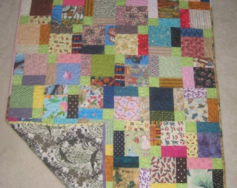 Colorful Scrappy Baby Quilt or Lap Quilt for Mother's Day