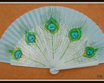 Peacock Feather SIZE OPTIONS Folding Handheld Hand Fan Wooden Flamenco Spanish from Spain Hand Painted by Kate Dengra