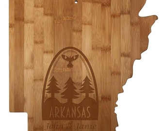Personalized Arkansas Cutting Board - Arkansas Shaped Cutting Board, Bamboo, Custom Engraved - Wedding Gift, Couples Gift, Housewarming Gift