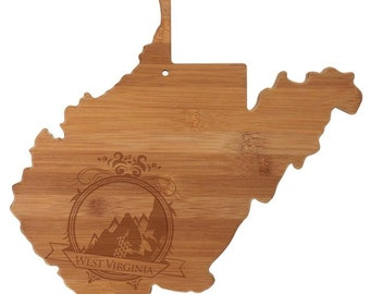 Personalized West Virginia Cutting Board - West Virginia Shaped Bamboo Board Custom Engraved - Wedding Gift, Couples Gift, Housewarming Gift