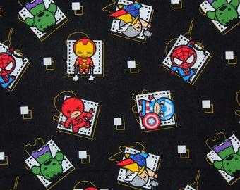 Marvel Kawaii Fabric,  Tossed Super Heroes, By the Yard, Capt America, Hulk, Thor, Ironman, Spiderman