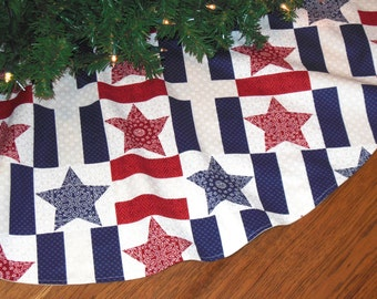 "Americana Christmas Tree Skirt, Patriotic Christmas, Red White Blue Christmas Decoration, Country Christmas, 42"" Diameter Xmas Tree Skirt"