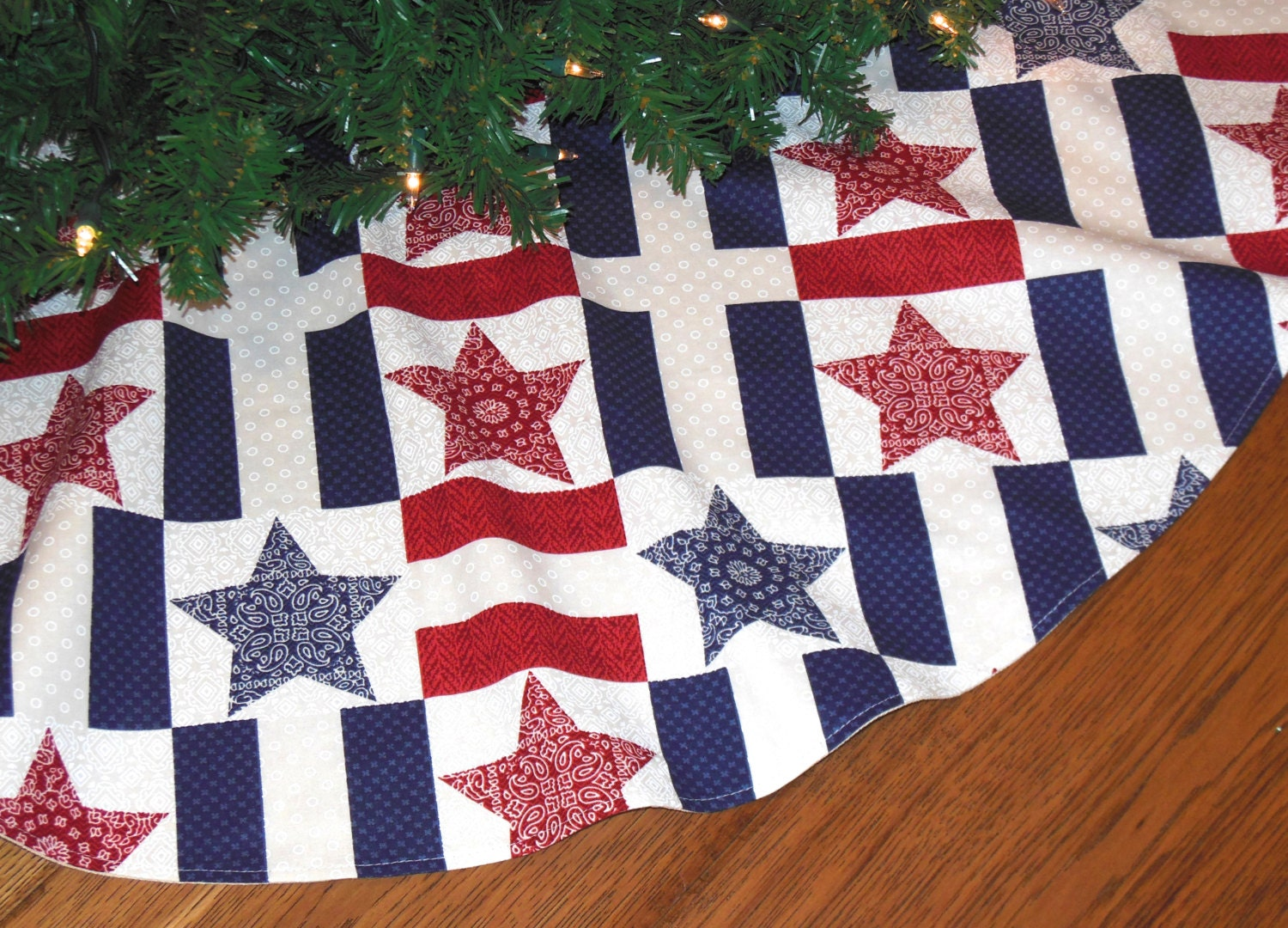 Americana Christmas Tree Skirt Patriotic Christmas Red White