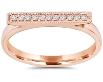 Diamond Bar Ring .15CT 14K Rose Gold