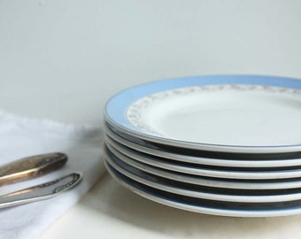 Six Vintage Mid Century Side Plates from Soviet Russia. Vintage Serving Dishes Plates. Simple White / Light Blue