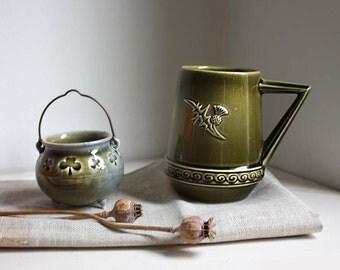 Shamrock and Thistle. Vintage Ceramic Mug / Tea Cup and Salt Cellar. Collectable. Green/ Blue. Irish Souvenir